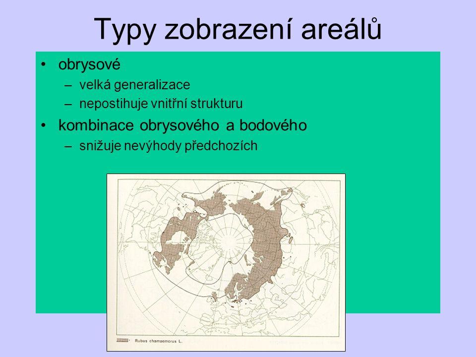Typy zobrazení areálů síťové –generalizace –závisí na volbě sítě kilometrová založená na souřadnicích