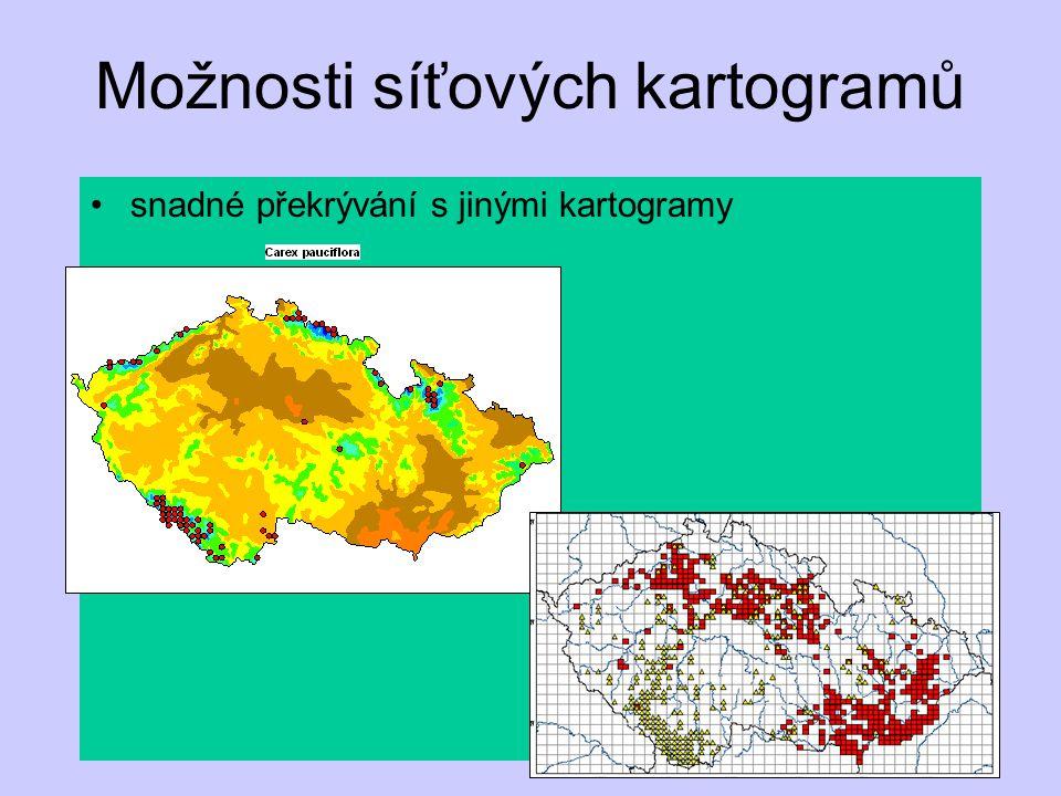 snadné překrývání s jinými kartogramy Možnosti síťových kartogramů  Carex tomentosa  Carex umbrosa