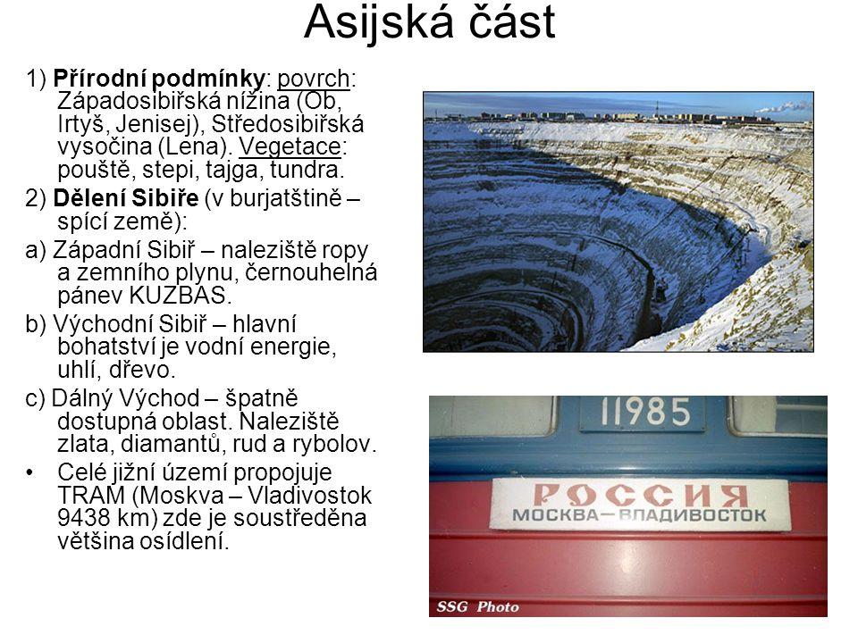 Asijská část 1) Přírodní podmínky: povrch: Západosibiřská nížina (Ob, Irtyš, Jenisej), Středosibiřská vysočina (Lena). Vegetace: pouště, stepi, tajga,