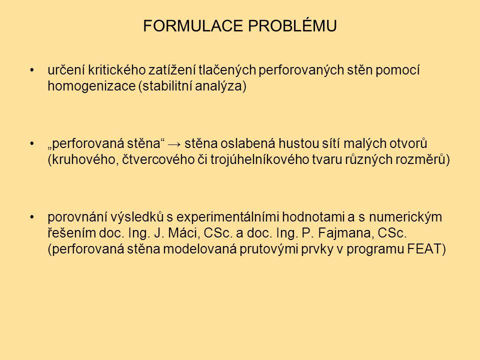 """FORMULACE PROBLÉMU určení kritického zatížení tlačených perforovaných stěn pomocí homogenizace (stabilitní analýza) """"perforovaná stěna"""" → stěna oslabe"""