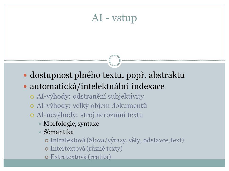 AI - vstup dostupnost plného textu, popř. abstraktu automatická/intelektuální indexace  AI-výhody: odstranění subjektivity  AI-výhody: velký objem d