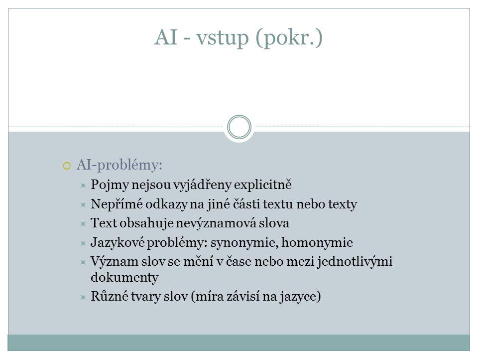 AI - vstup (pokr.)  AI-problémy:  Pojmy nejsou vyjádřeny explicitně  Nepřímé odkazy na jiné části textu nebo texty  Text obsahuje nevýznamová slova  Jazykové problémy: synonymie, homonymie  Význam slov se mění v čase nebo mezi jednotlivými dokumenty  Různé tvary slov (míra závisí na jazyce)