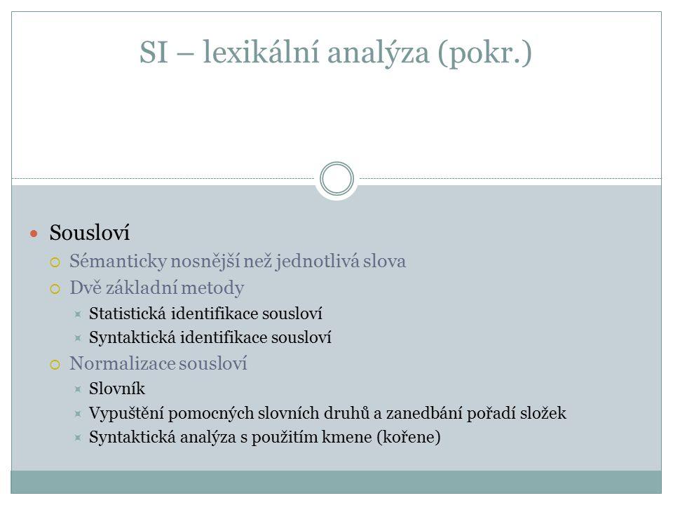 SI – lexikální analýza (pokr.) Sousloví  Sémanticky nosnější než jednotlivá slova  Dvě základní metody  Statistická identifikace sousloví  Syntakt