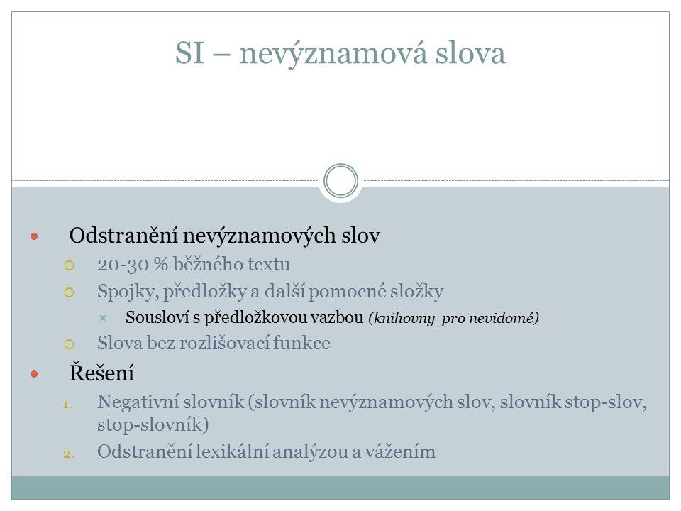 SI – nevýznamová slova (pokr.) Tvorba stop-slovníku  Druhy slov (spojky, předložky, částice apod.)  Podle frekvence slova v textu  Krátká slova  Anti-negativní slovník