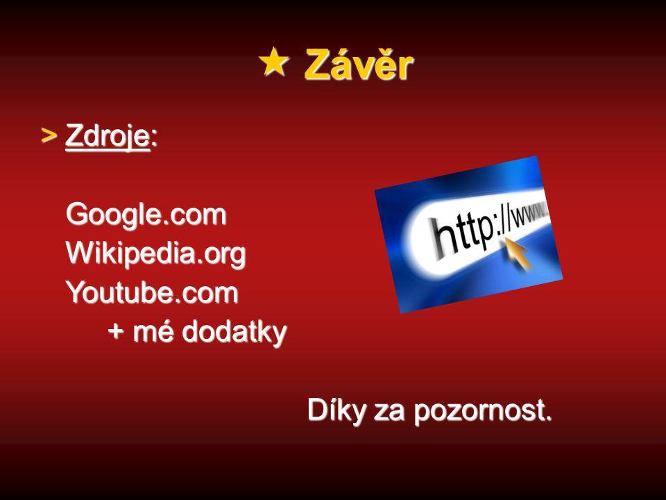 Závěr >Zdroje: Google.comWikipedia.orgYoutube.com + mé dodatky Díky za pozornost.