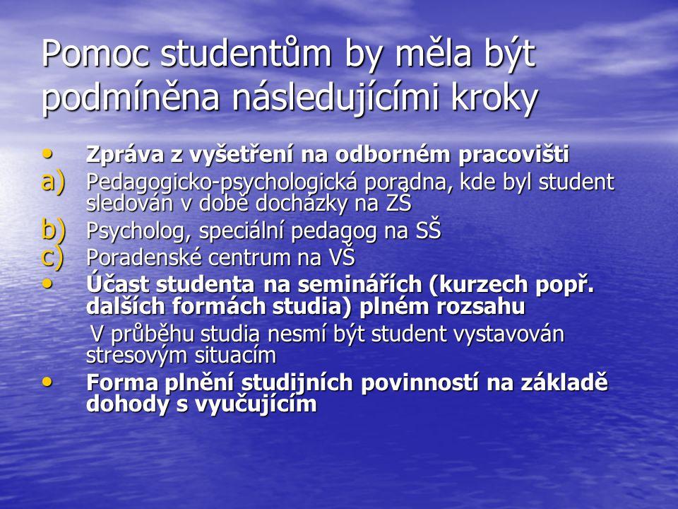 Pomoc studentům by měla být podmíněna následujícími kroky Zpráva z vyšetření na odborném pracovišti Zpráva z vyšetření na odborném pracovišti a) Pedagogicko-psychologická poradna, kde byl student sledován v době docházky na ZŠ b) Psycholog, speciální pedagog na SŠ c) Poradenské centrum na VŠ Účast studenta na seminářích (kurzech popř.