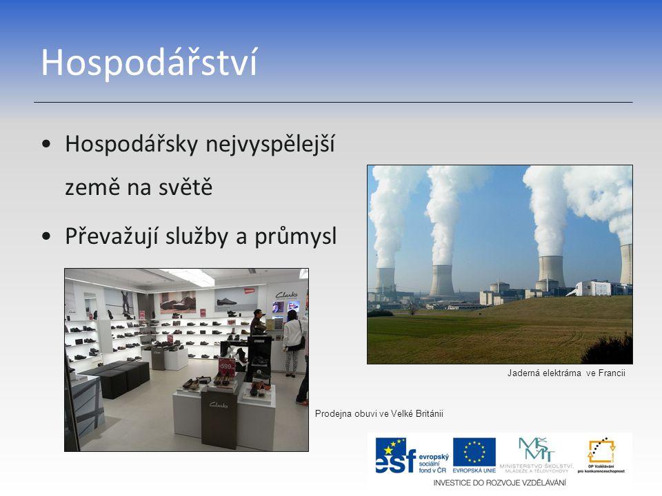 Hospodářství Hospodářsky nejvyspělejší země na světě Převažují služby a průmysl Jaderná elektrárna ve Francii Prodejna obuvi ve Velké Británii