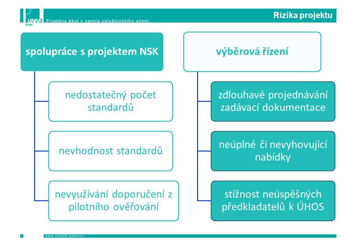 Rizika projektu spolupráce s projektem NSK nedostatečný počet standardů nevhodnost standardů nevyužívání doporučení z pilotního ověřování výběrová říz