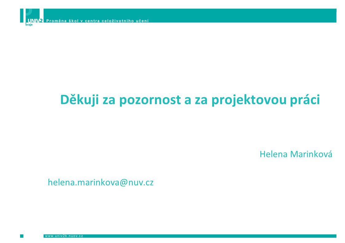 Děkuji za pozornost a za projektovou práci Helena Marinková helena.marinkova@nuv.cz