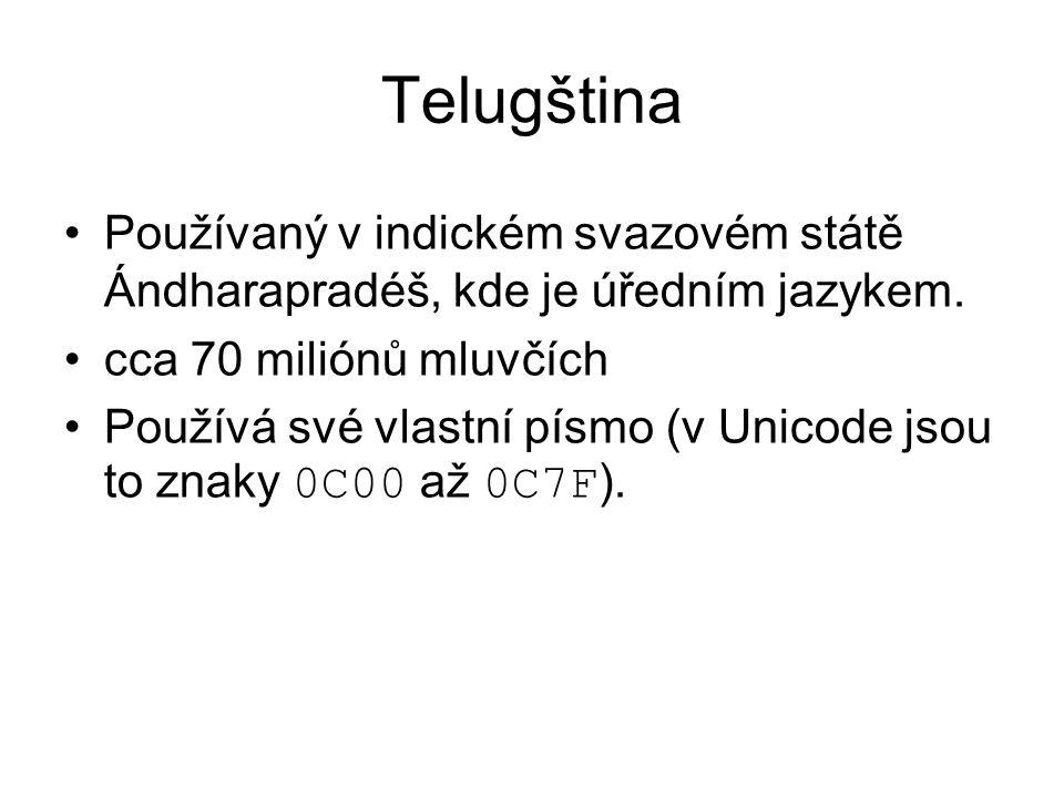 Telugština Používaný v indickém svazovém státě Ándharapradéš, kde je úředním jazykem.