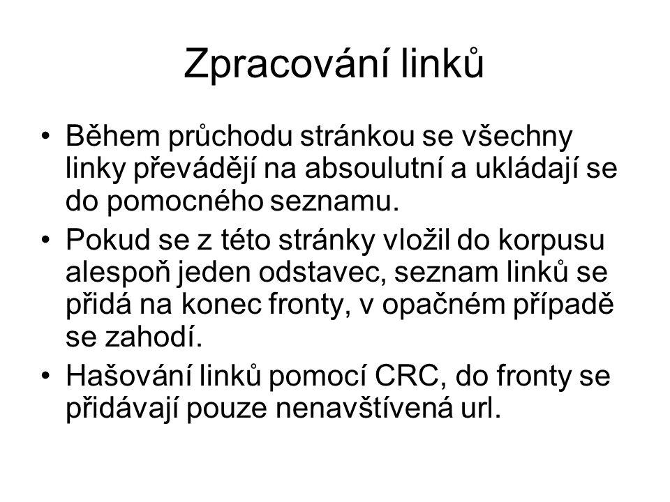 Zpracování linků Během průchodu stránkou se všechny linky převádějí na absoulutní a ukládají se do pomocného seznamu.