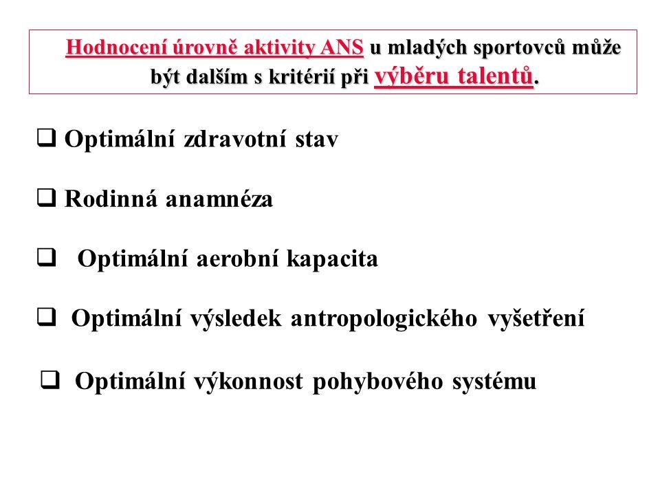  Optimální zdravotní stav  Rodinná anamnéza  Optimální aerobní kapacita  Optimální výsledek antropologického vyšetření  Optimální výkonnost pohyb