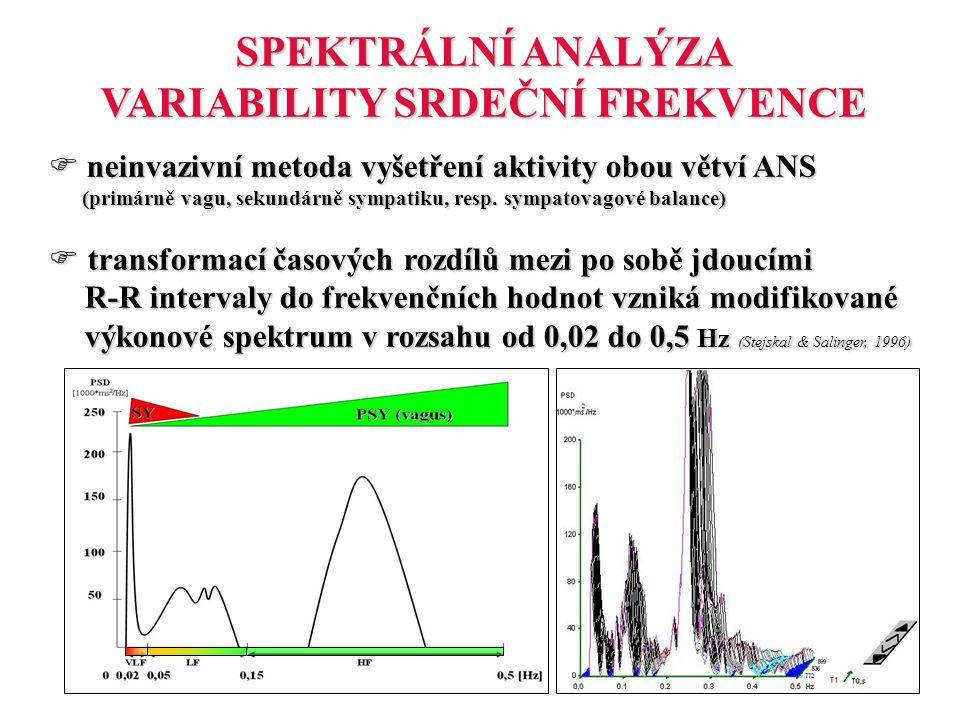 SPEKTRÁLNÍ ANALÝZA VARIABILITY SRDEČNÍ FREKVENCE  neinvazivní metoda vyšetření aktivity obou větví ANS (primárně vagu, sekundárně sympatiku, resp. sy