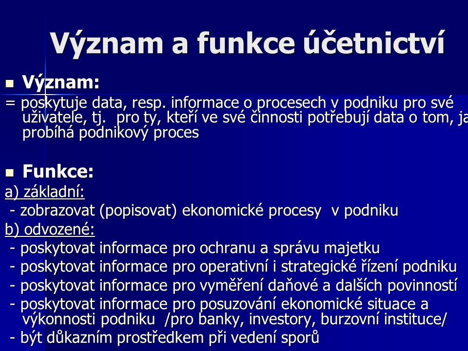 Význam a funkce účetnictví Význam: Význam: = poskytuje data, resp. informace o procesech v podniku pro své uživatele, tj. pro ty, kteří ve své činnost