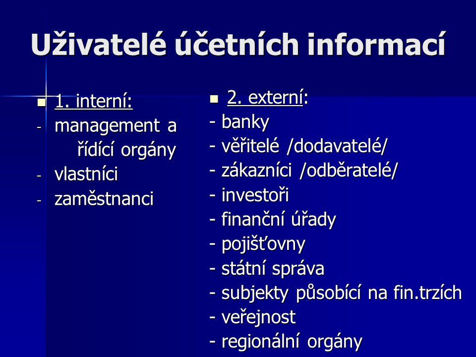 Uživatelé účetních informací 1. interní: 1. interní: - management a řídící orgány řídící orgány - vlastníci - zaměstnanci 2. externí: 2. externí: - ba