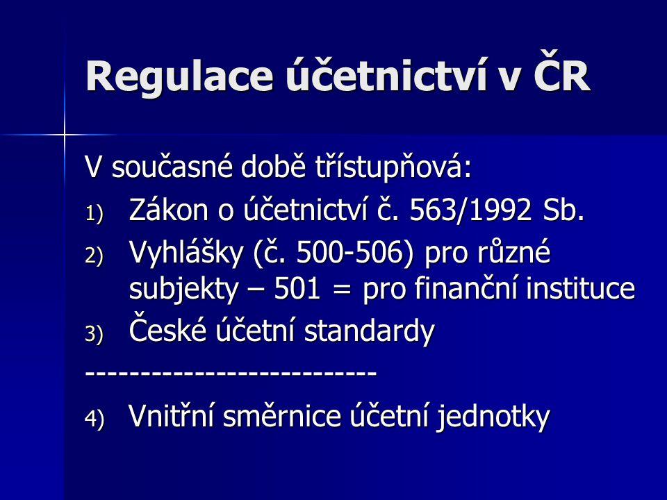 Regulace účetnictví v ČR V současné době třístupňová: 1) Zákon o účetnictví č. 563/1992 Sb. 2) Vyhlášky (č. 500-506) pro různé subjekty – 501 = pro fi