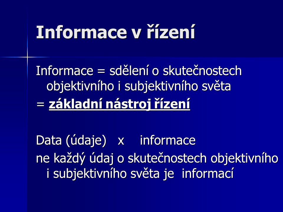 Informace v řízení Informace = sdělení o skutečnostech objektivního i subjektivního světa = základní nástroj řízení Data (údaje) x informace ne každý údaj o skutečnostech objektivního i subjektivního světa je informací