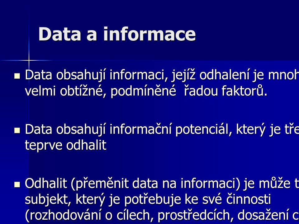 Data a informace Data obsahují informaci, jejíž odhalení je mnohdy velmi obtížné, podmíněné řadou faktorů. Data obsahují informaci, jejíž odhalení je