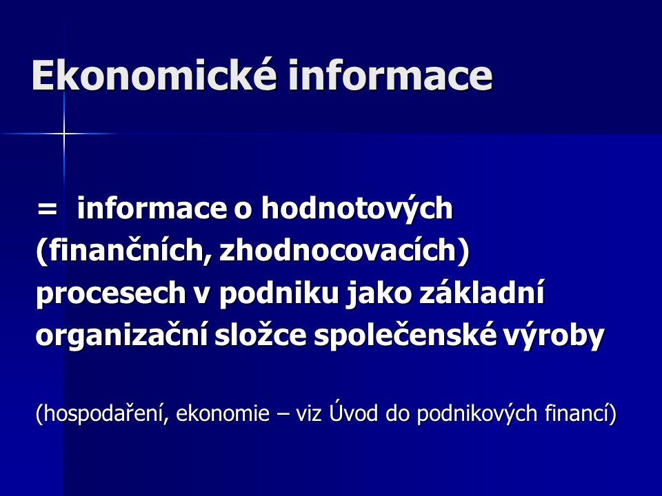 Ekonomické informace = informace o hodnotových (finančních, zhodnocovacích) procesech v podniku jako základní organizační složce společenské výroby (hospodaření, ekonomie – viz Úvod do podnikových financí)