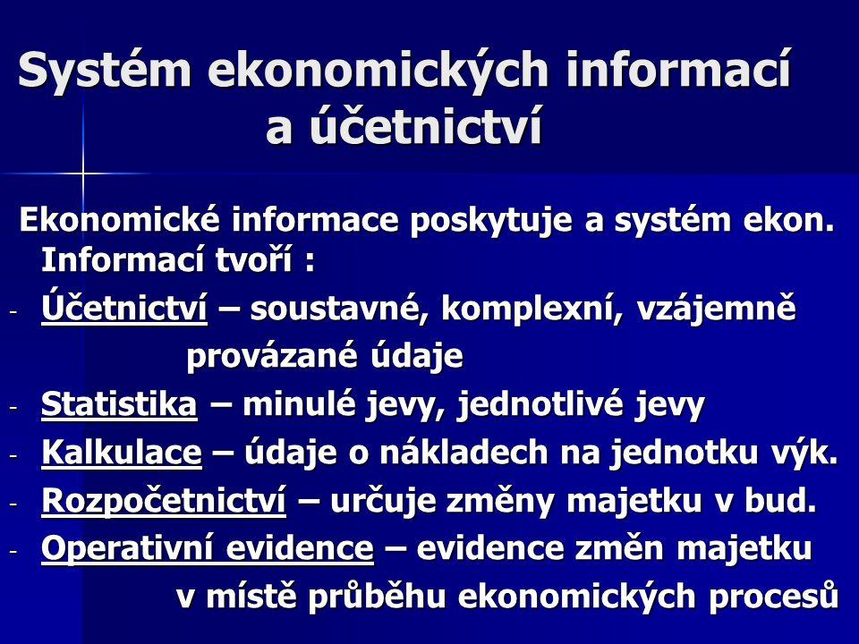 Systém ekonomických informací a účetnictví Ekonomické informace poskytuje a systém ekon. Informací tvoří : Ekonomické informace poskytuje a systém eko