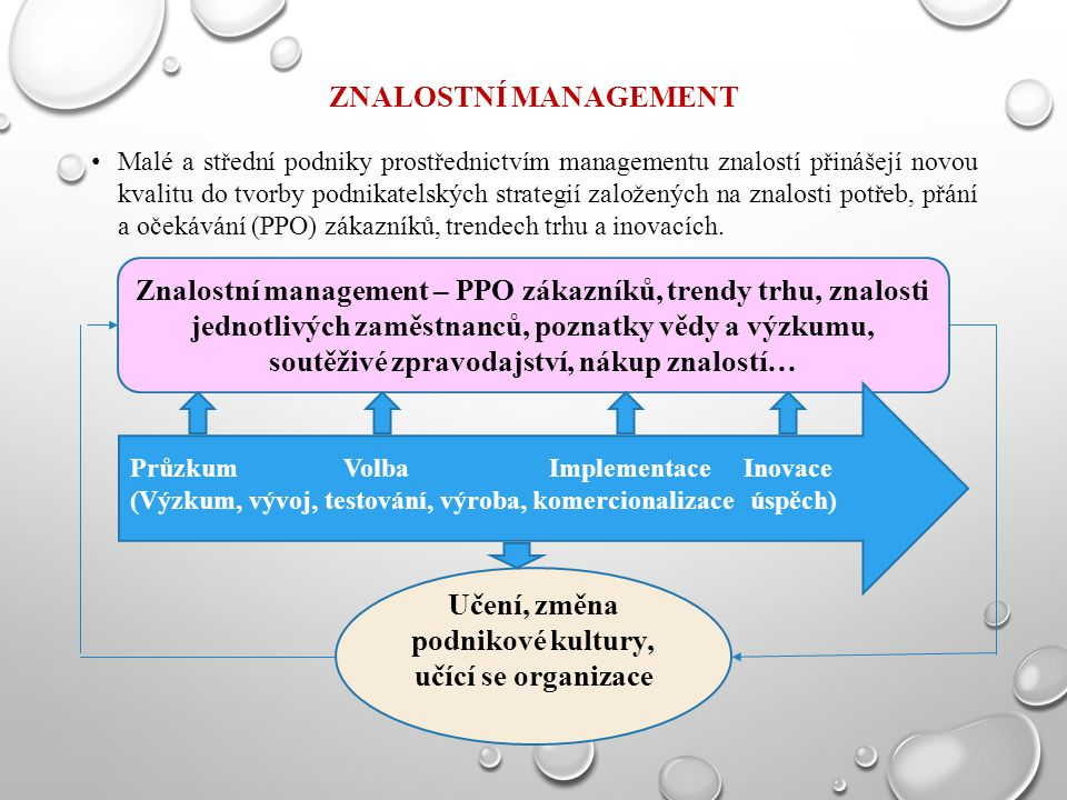 ZNALOSTNÍ MANAGEMENT Malé a střední podniky prostřednictvím managementu znalostí přinášejí novou kvalitu do tvorby podnikatelských strategií založenýc