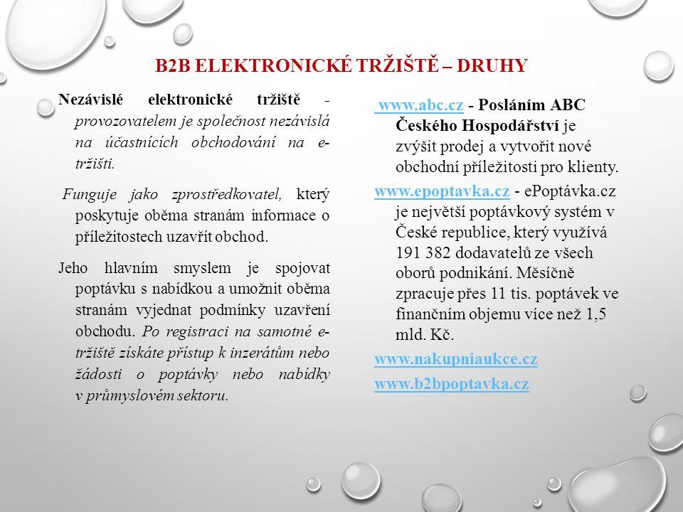B2B ELEKTRONICKÉ TRŽIŠTĚ – DRUHY Nezávislé elektronické tržiště - provozovatelem je společnost nezávislá na účastnících obchodování na e- tržišti. Fun