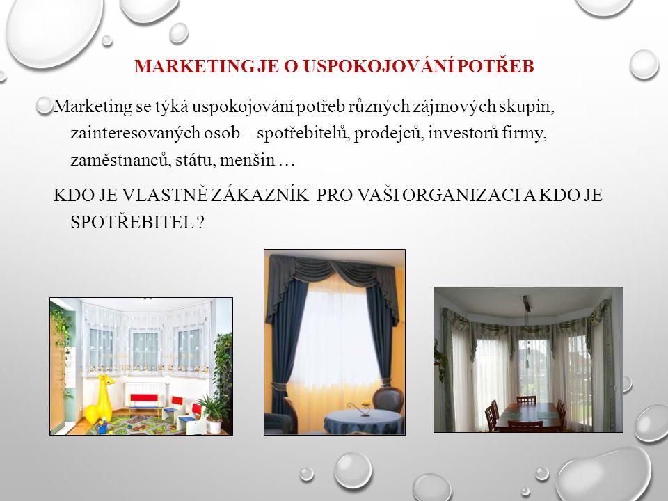 MARKETING JE O USPOKOJOVÁNÍ POTŘEB Marketing se týká uspokojování potřeb různých zájmových skupin, zainteresovaných osob – spotřebitelů, prodejců, inv