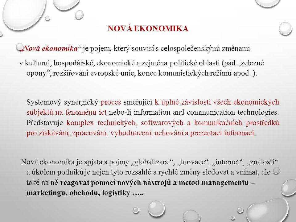 """NOVÁ EKONOMIKA """"Nová ekonomika"""" je pojem, který souvisí s celospolečenskými změnami v kulturní, hospodářské, ekonomické a zejména politické oblasti (p"""