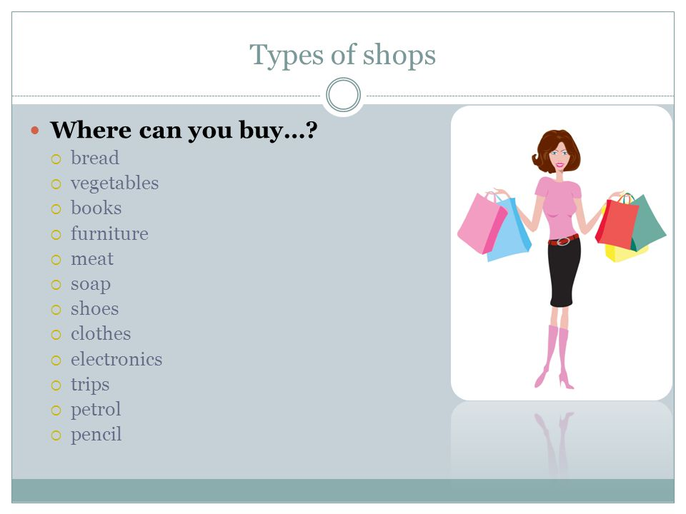 Types of shops Solution Where can you buy….