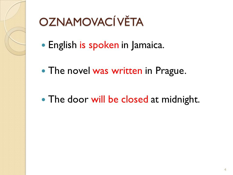 OZNAMOVACÍ VĚTA English is spoken in Jamaica. The novel was written in Prague.