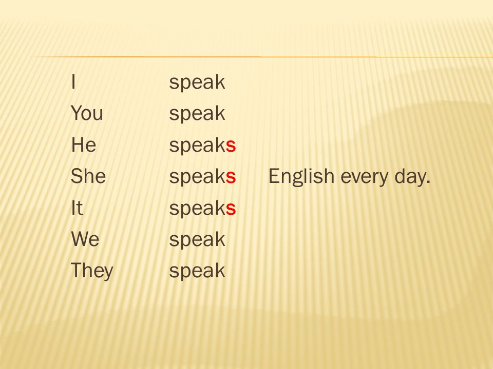 I speak You speak Hespeaks She speaksEnglish every day. It speaks Wespeak Theyspeak