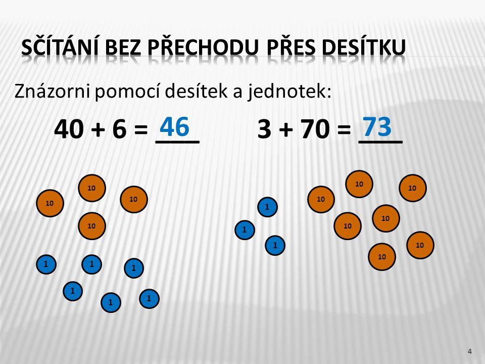 Znázorni pomocí desítek a jednotek: 40 + 6 = ___3 + 70 = ___ 4 10 1 1 1 1 1 1 1 1 1 4673