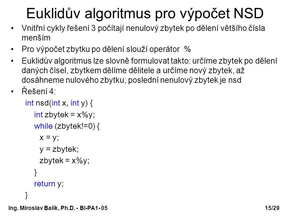 Ing. Miroslav Balík, Ph.D. - BI-PA1- 05 Euklidův algoritmus pro výpočet NSD Vnitřní cykly řešení 3 počítají nenulový zbytek po dělení většího čísla me