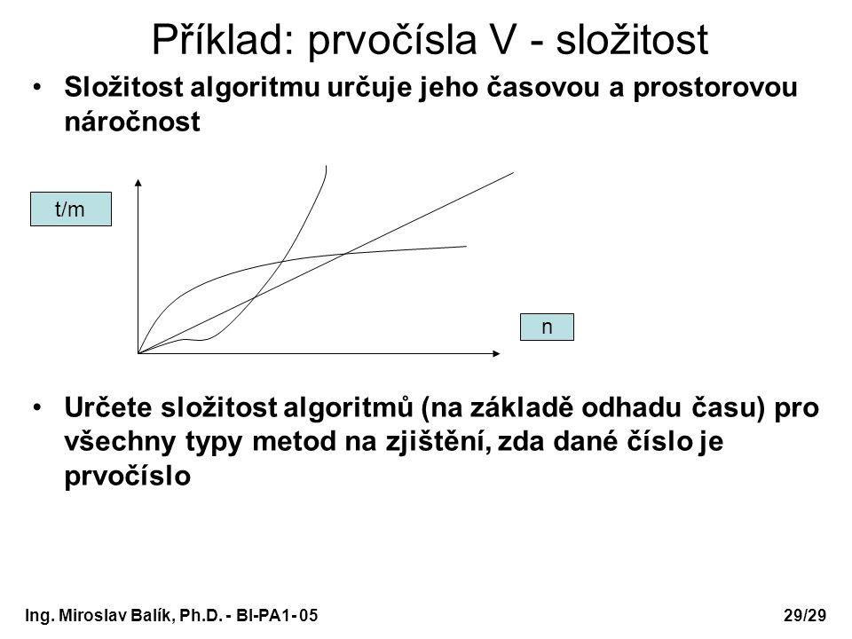 Ing. Miroslav Balík, Ph.D. - BI-PA1- 05 Příklad: prvočísla V - složitost Složitost algoritmu určuje jeho časovou a prostorovou náročnost Určete složit