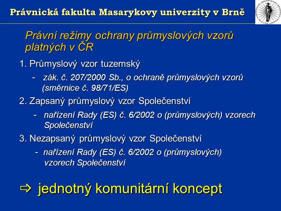 Právnická fakulta Masarykovy univerzity v Brně Právní režimy ochrany průmyslových vzorů platných v ČR 1.