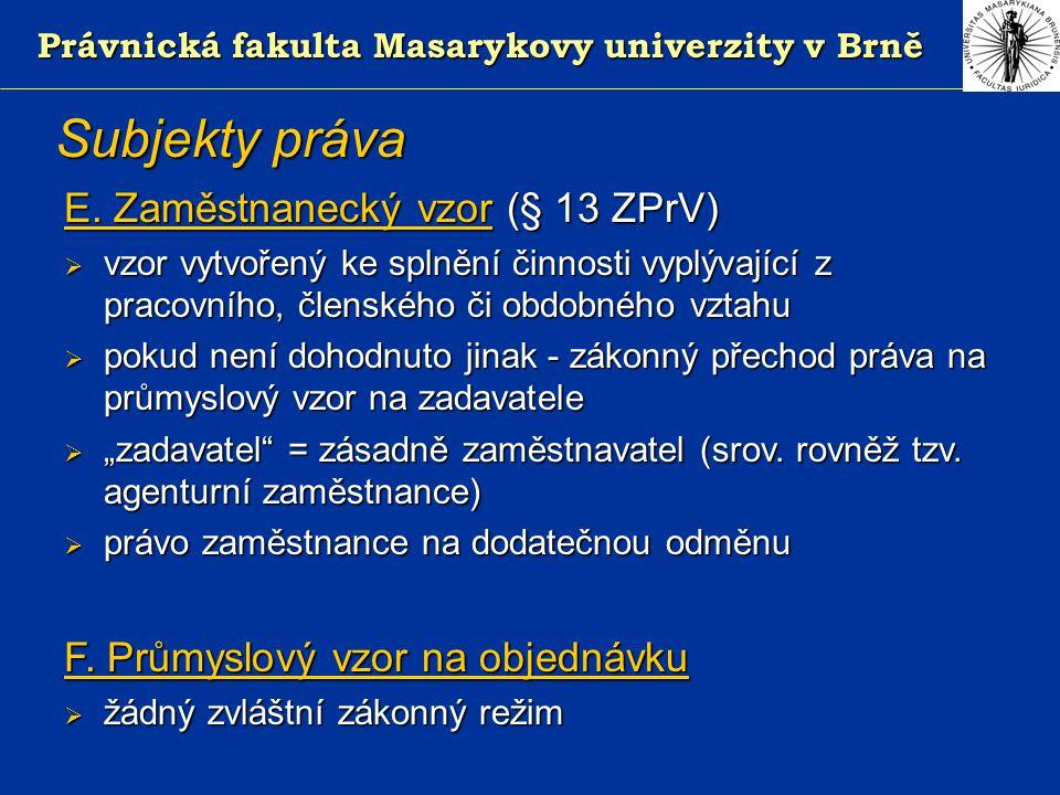 Právnická fakulta Masarykovy univerzity v Brně Subjekty práva E.