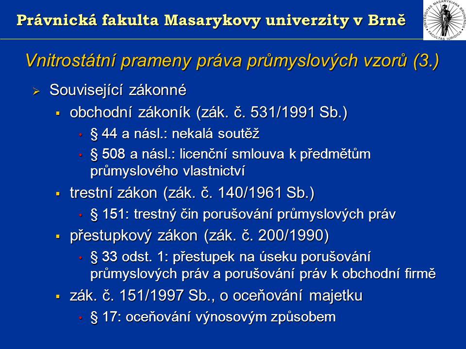 Právnická fakulta Masarykovy univerzity v Brně Vnitrostátní prameny práva průmyslových vzorů (4.)  Podzákonné - v současnosti žádné (příslušná normativní část vyhlášky č.