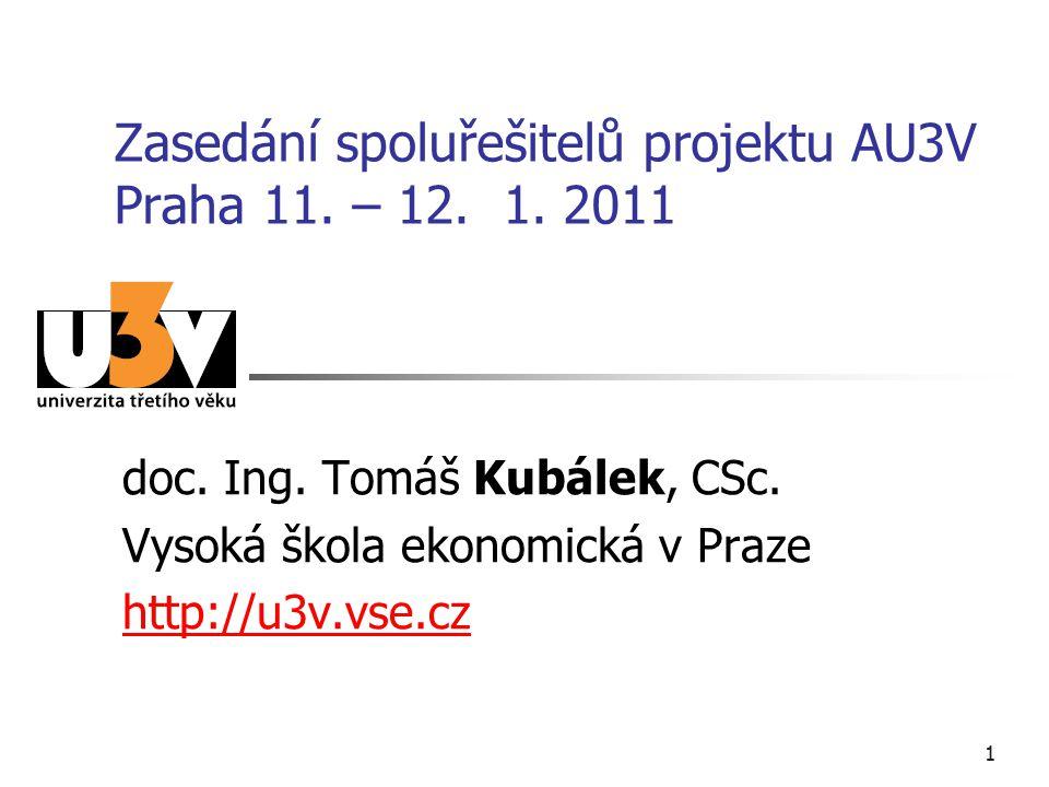 1 Zasedání spoluřešitelů projektu AU3V Praha 11. – 12.