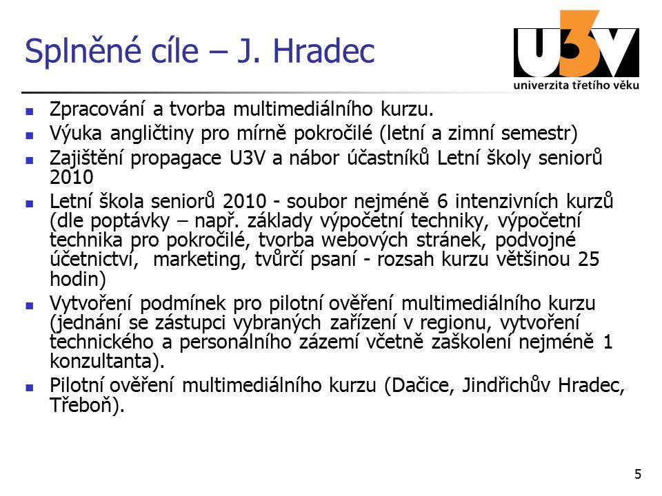 Splněné cíle – J. Hradec Zpracování a tvorba multimediálního kurzu.