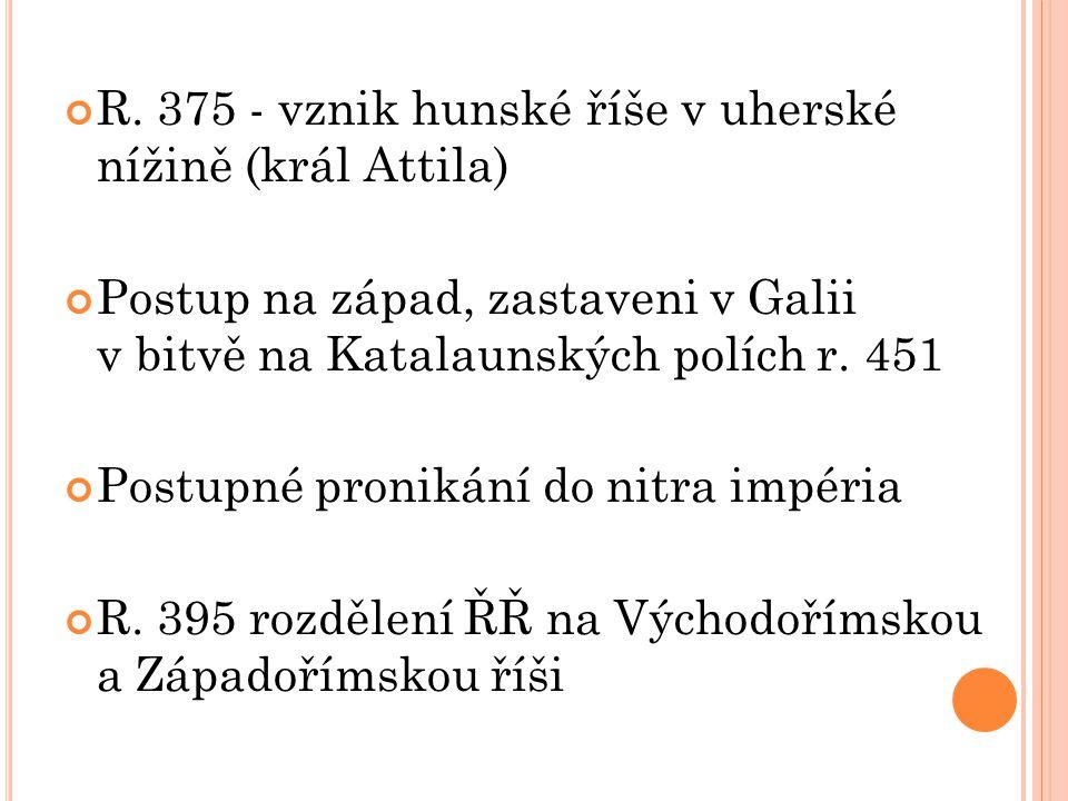 R. 375 - vznik hunské říše v uherské nížině (král Attila) Postup na západ, zastaveni v Galii v bitvě na Katalaunských polích r. 451 Postupné pronikání