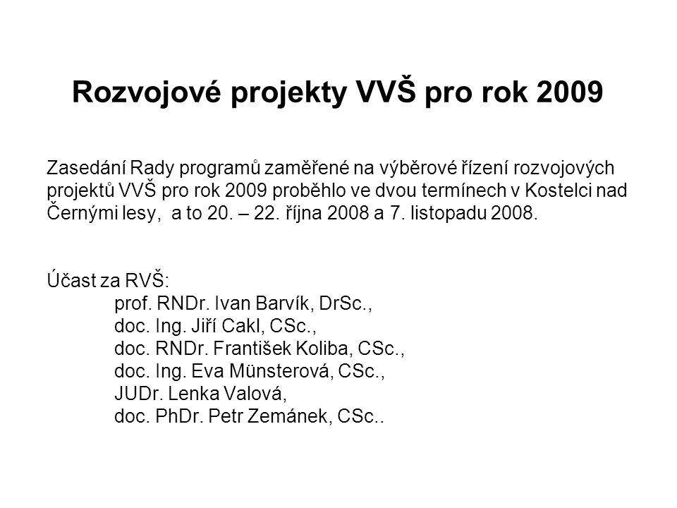 Rozvojové projekty VVŠ pro rok 2009 Zasedání Rady programů zaměřené na výběrové řízení rozvojových projektů VVŠ pro rok 2009 proběhlo ve dvou termínech v Kostelci nad Černými lesy, a to 20.