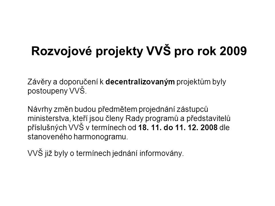 Rozvojové projekty VVŠ pro rok 2009 Závěry a doporučení k decentralizovaným projektům byly postoupeny VVŠ. Návrhy změn budou předmětem projednání zást