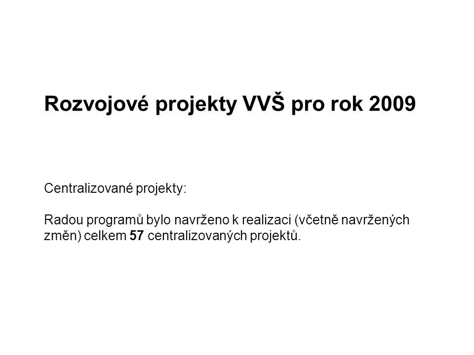 Rozvojové projekty VVŠ pro rok 2009 Centralizované projekty: Radou programů bylo navrženo k realizaci (včetně navržených změn) celkem 57 centralizovaných projektů.