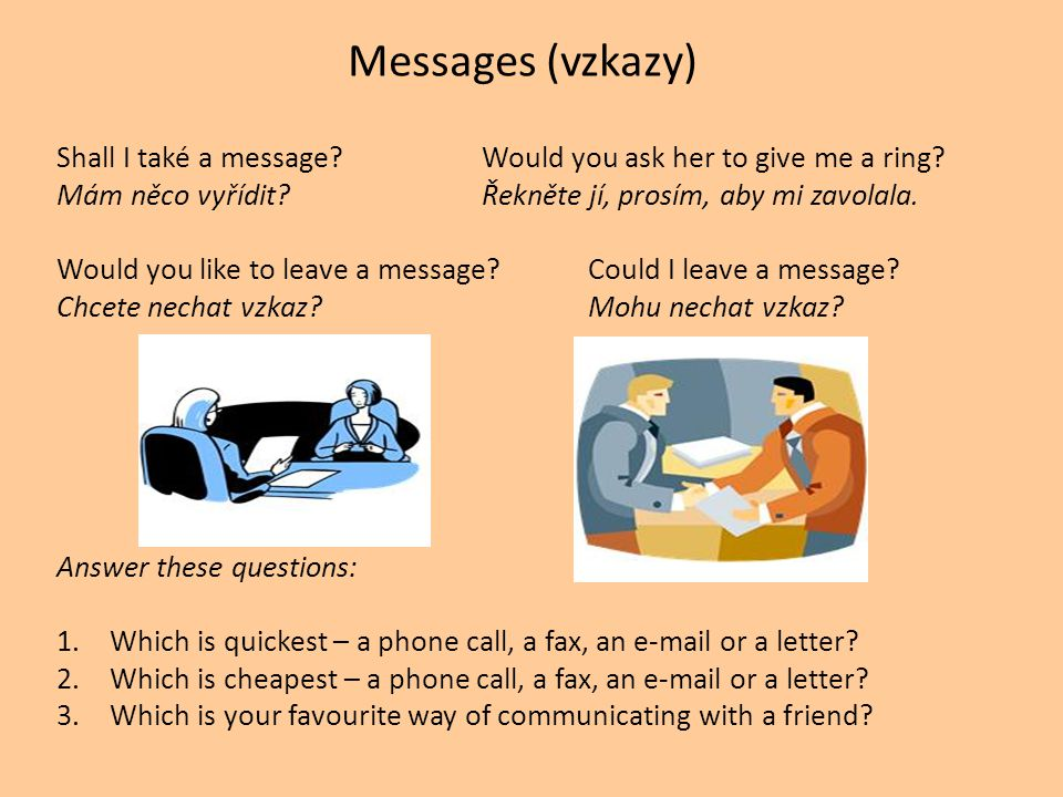 Messages (vzkazy) Shall I také a message Would you ask her to give me a ring.