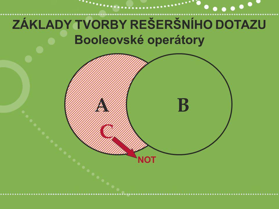 ZÁKLADY TVORBY REŠERŠNÍHO DOTAZU Booleovské operátory NOT AB C