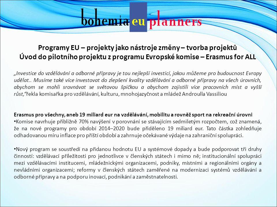 """Programy EU – projekty jako nástroje změny – tvorba projektů Úvod do pilotního projektu z programu Evropské komise – Erasmus for ALL """"Investice do vzdělávání a odborné přípravy je tou nejlepší investicí, jakou můžeme pro budoucnost Evropy udělat.."""