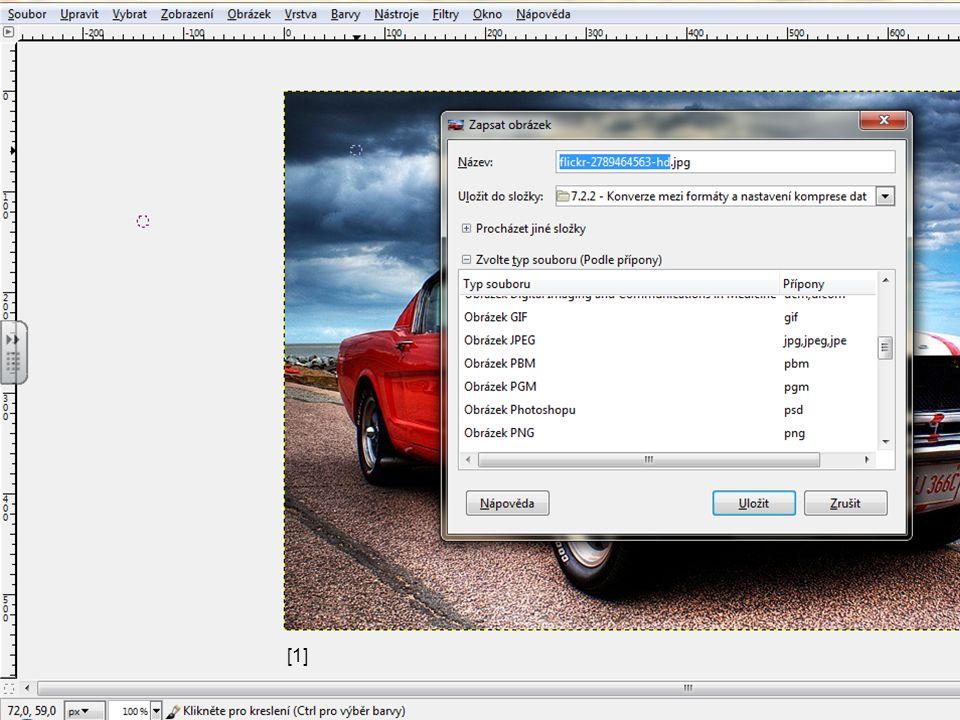 Omezení uložení do formátu JPEG snížení kvality obrázku při každém uložení uložení do formátu GIF před uložením nutno snížit barevnou hloubku