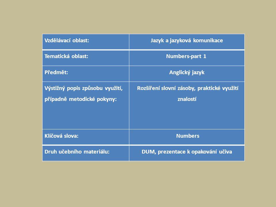 Vzdělávací oblast:Jazyk a jazyková komunikace Tematická oblast:Numbers-part 1 Předmět:Anglický jazyk Výstižný popis způsobu využití, případně metodické pokyny: Rozšíření slovní zásoby, praktické využití znalostí Klíčová slova: Numbers Druh učebního materiálu:DUM, prezentace k opakování učiva
