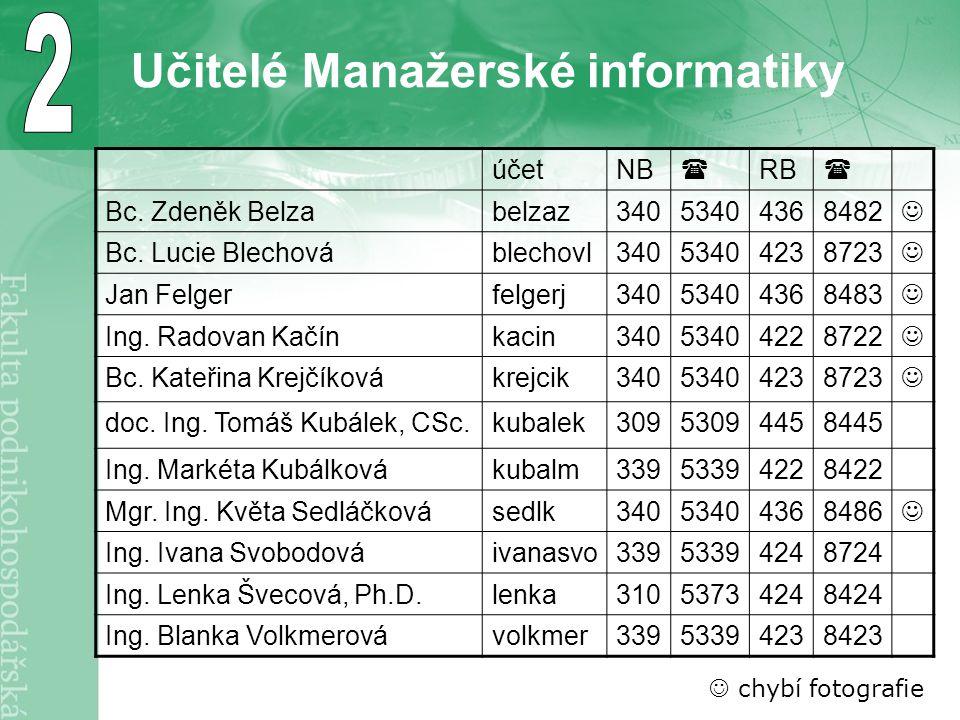 Učitelé Manažerské informatiky účetNB  RB  Bc. Zdeněk Belzabelzaz34053404368482 Bc.