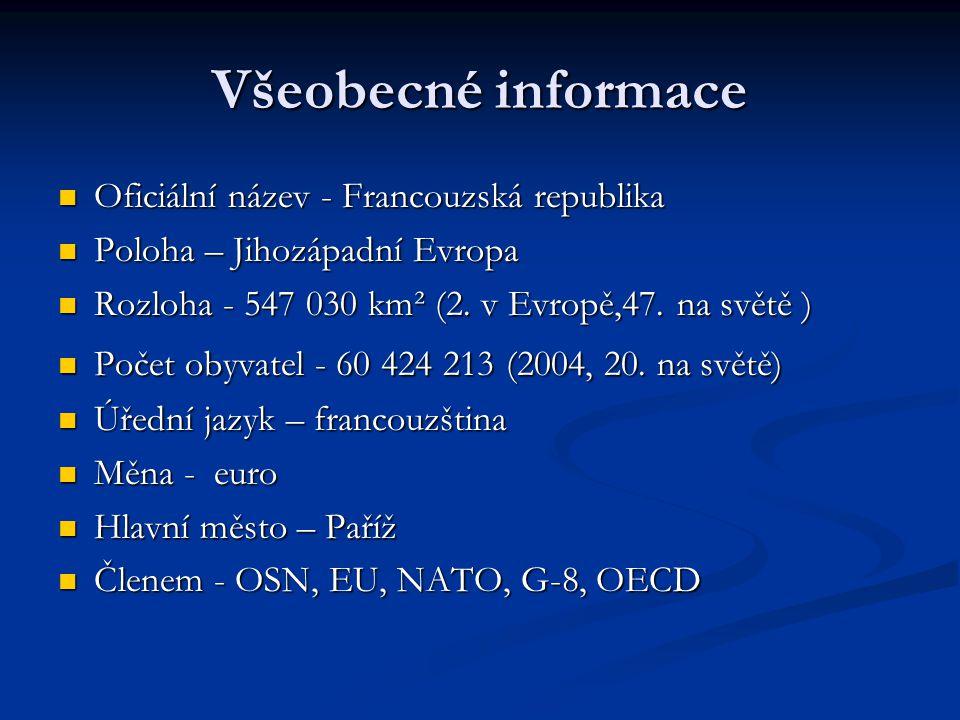 Všeobecné informace Oficiální název - Francouzská republika Oficiální název - Francouzská republika Poloha – Jihozápadní Evropa Poloha – Jihozápadní E